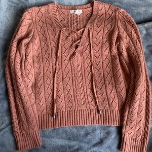 Forever 21 V-Neck Lace-Up Cable Knit Sweater - L